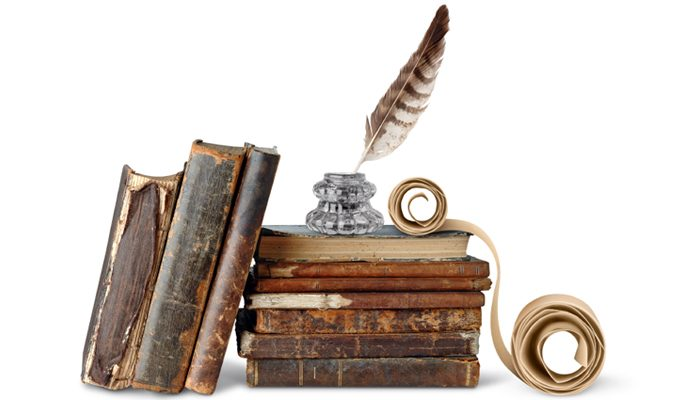 Old books, inkstand and scroll - Poetry at SMSA