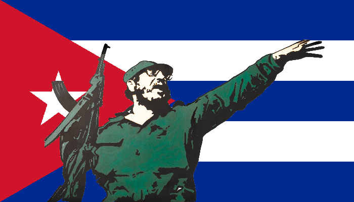 castro with cuban flag