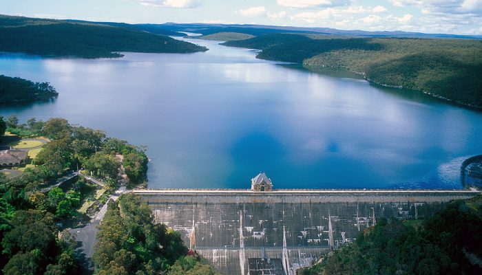 Aerial view of the Cataract Dam and Reservoir, NSW. 1999.