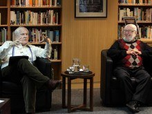 Frank Moorhouse (left) with Tom Keneally in the Tom Keneally Centre