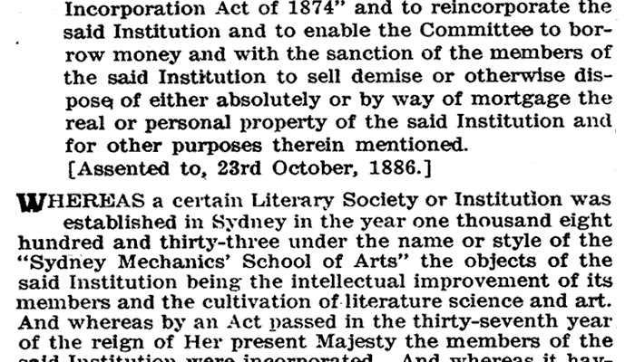 photo of Sydney Mechanics' School of Arts Act of Incorporation 1886