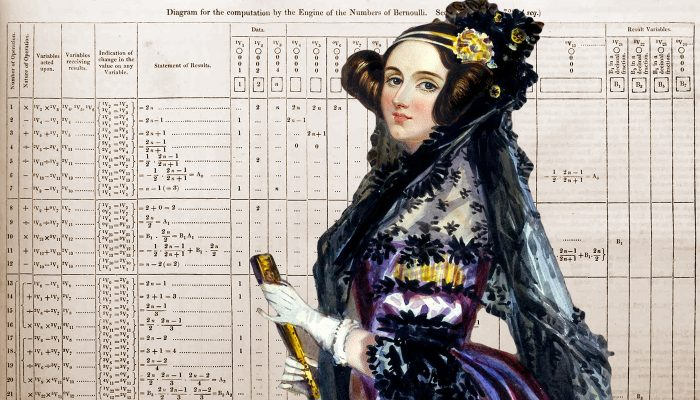 Ada Lovelace with her algorithm for the Analytical Engine
