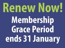 Grace Period for 2018 membership renewals ends on 31 Jan